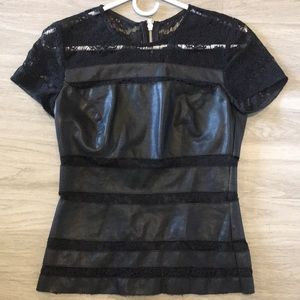 """Sexy black """"leather and lace"""" combo zip top"""
